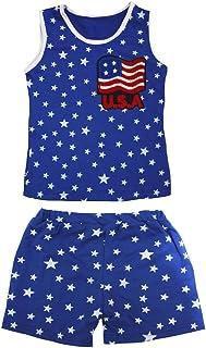 Petitebella Girls' U.S.A Flag Patriotic Stars Cotton Shirt Short Set
