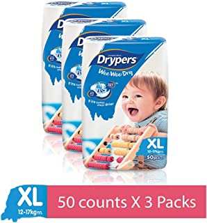 Drypers Wee Wee Dry X Large Sized Diapers, Combo Pack of 3, 50 Counts Each (150 Counts)(Taped Diaper)