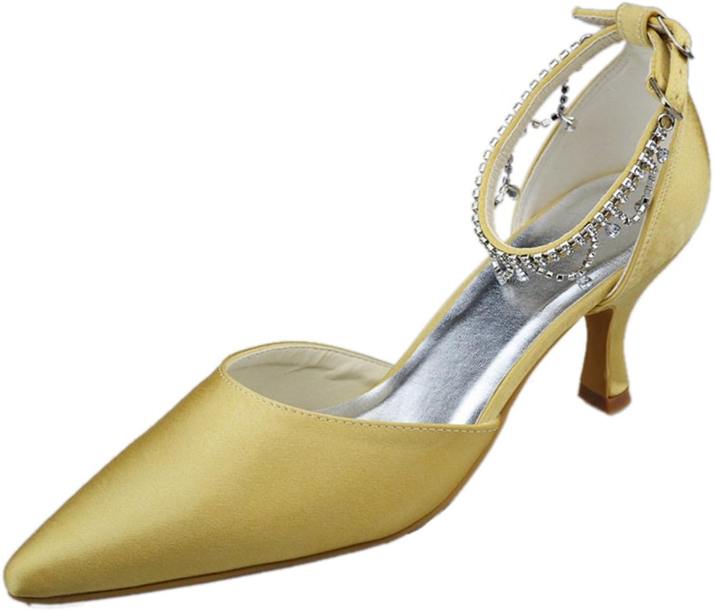Minitoo GYAYLMM023 Womens Kitten Heel Closed Toe Satin Evening Party Bridal Wedding Buckle shoes Pumps