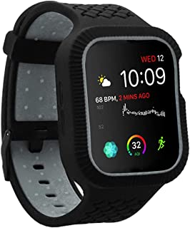 Veczom Case Compatible with Apple Watch Serries 5 Serries 4, Rugged Protective Case with Strap Bands Compatible with Apple Watch Series 4 44mm Women Men (Black Grey, 44MM)