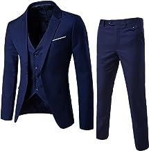 LANBAOSI Men's Slim Fit One Button 3-Piece Suits Wedding Party Blazer Suit