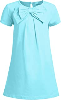 Arshiner Girls Dress Long Sleeve Solid Tunic Cotton Dress for Girls with Big Bow Tie
