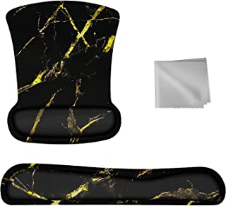 Mightree Mouse Pad Keyboard Wrist Rest with Coffee Cup Pad, Glassess Cloth Ergonomic Memory Foam Mousepad Wrist Support 3 ...