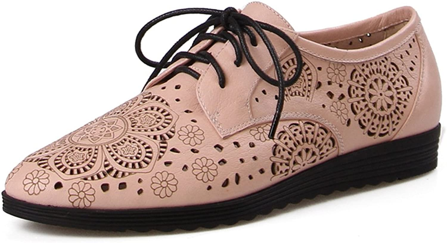 Full Genuine Leather Carving Women Flats lace up Cozy Lady Flat shoes