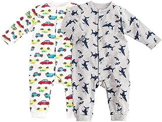 Baby nest ベビー服 男の子 長袖カバーオール 新生児服 赤ちゃん 長袖ロンパース 秋冬 2枚セット コットン サメ&クルマ 3-6M