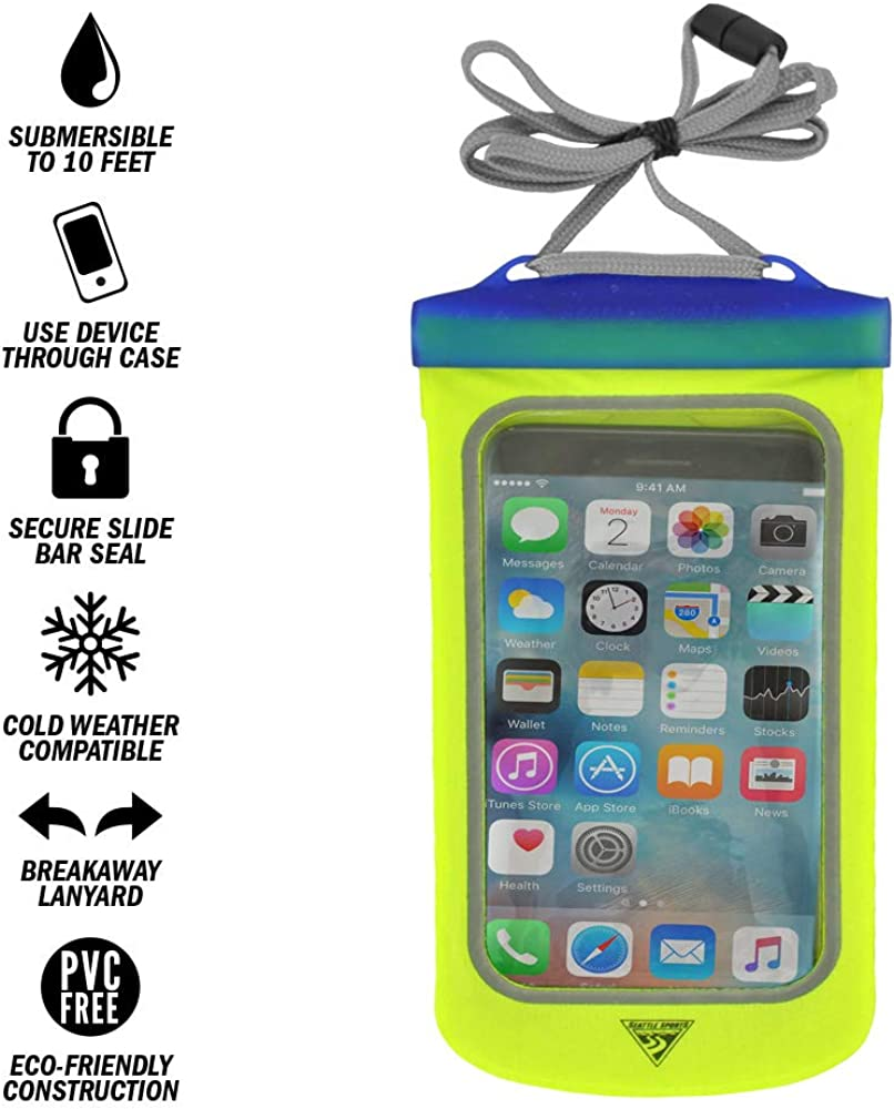 Seattle Sports E-Merse NeoX - iPhone X and Smaller Smartphone Waterproof Submersible Pouch Dry Bag Case, Blue Steel