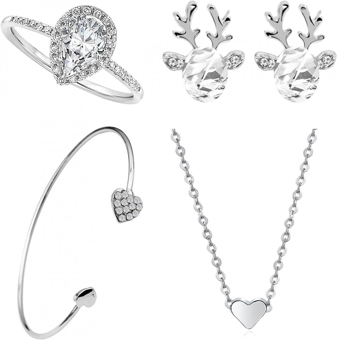Necklace Earrings Bracelet Max 70% Elegant OFF Ring Jewelry for Women Arkutor Sets 4