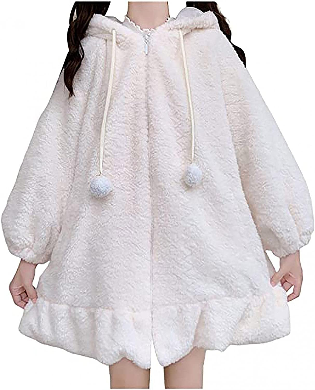 Oversized Flannels for Women Cute Bunny Hoodie With Ears Long Sleeve Blouse Winter Comfy Pullover