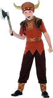 Fancy Ole – Disfraz de Guerrero Vikingo con Parte Superior, Camisa y Casco, Carnaval, Carnaval y Noche de Carnaval, 104 – 170, Color marrón