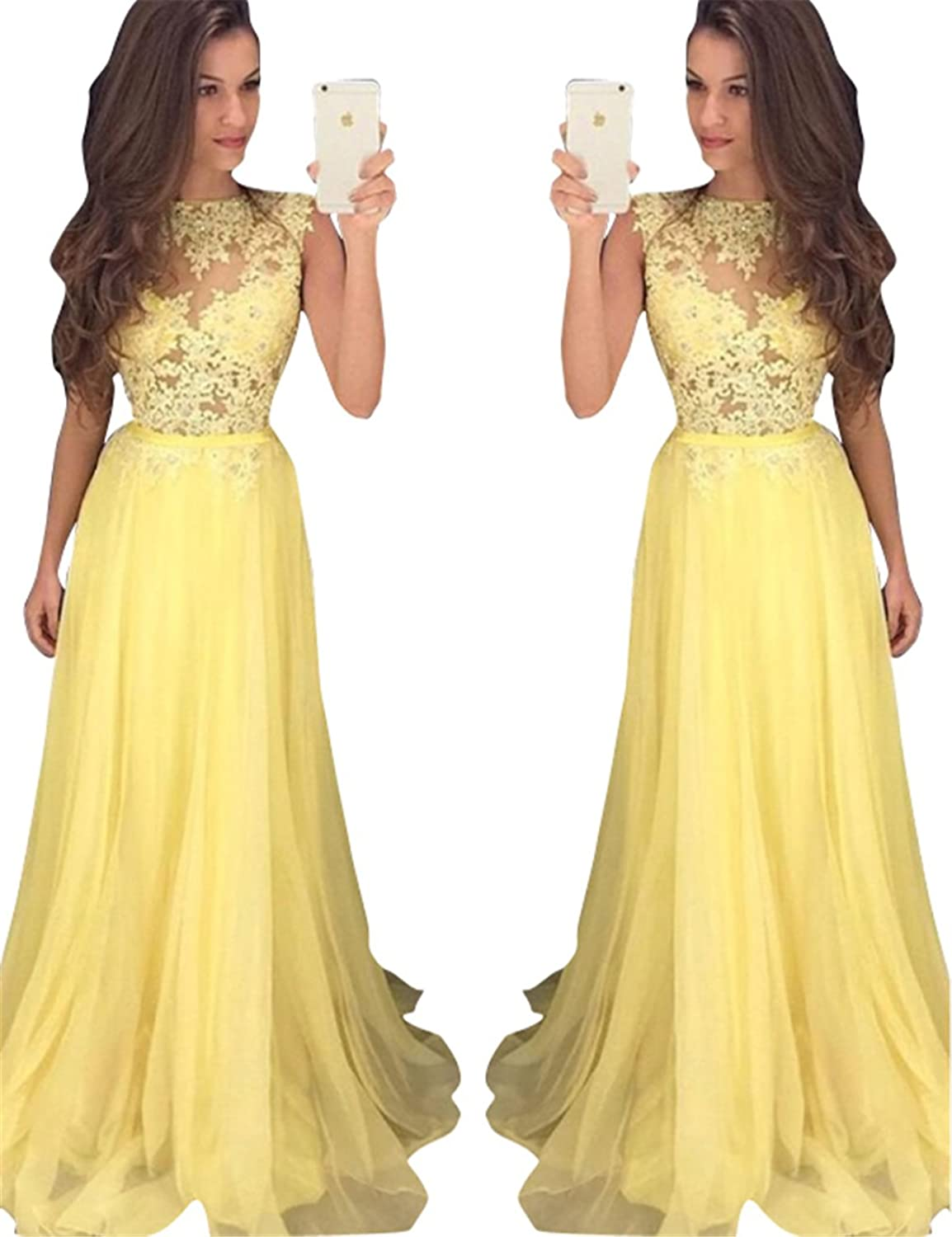 Changjie Women's Sleeveless Prom Dresses Lace Applique Formal Evening Party Gown