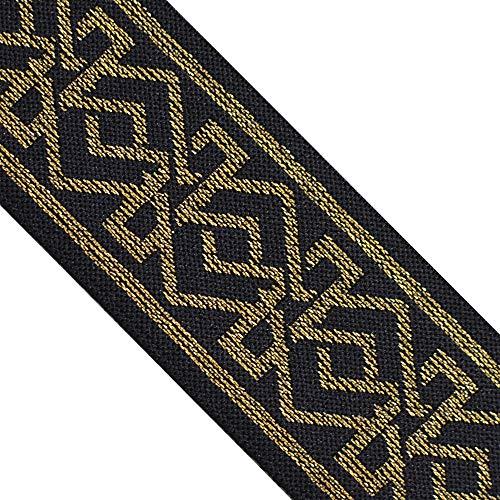 EB 4024 Jacquard Elastic Band Metallic Gold Geometric Ethnic on Black Waistband Webbing, 2' (50mm) 3 Yards, DIY Sewing Crafting, Belts