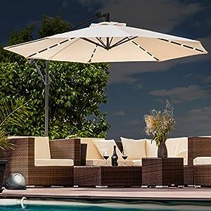 Swing&Harmonie Sonnenschirm mit LED Beleuchtung Ampelschirm 300cm / 350cm Solar Garten Schirm Pavillon (Ø 300cm, Creme)