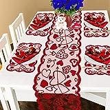 Runner da tavola e tovagliette in pizzo rosso con cuori, decorazione romantica per San Valentino, Natale, festa della mamma, 5 pezzi
