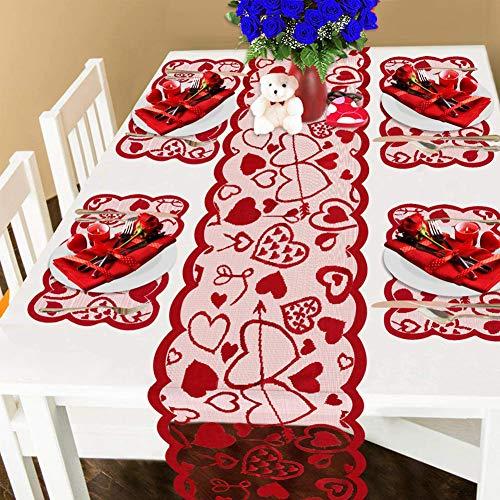 Runner da tavola in pizzo rosso, tovaglia, tovagliette, foulard, cuore, decorazione di San Valentino, Natale, romantico festa della mamma, 5 pezzi