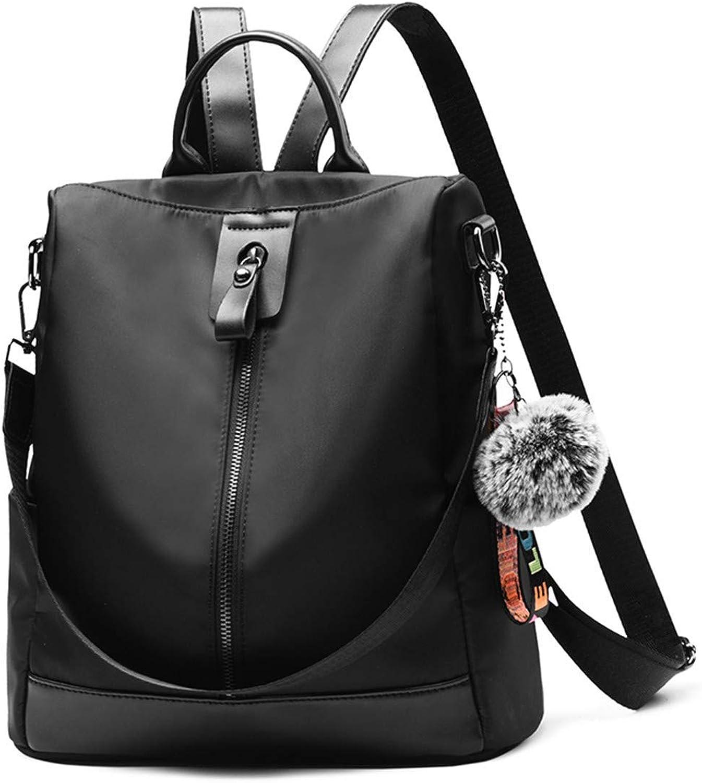 Rucksack weiche Schulter weibliche Multifunktions-Diebstahlsicherung groer Rucksack Retro Wild Damen Reisetasche mit doppeltem Verwendungszweck, Oxford-Tuch - Schwarz