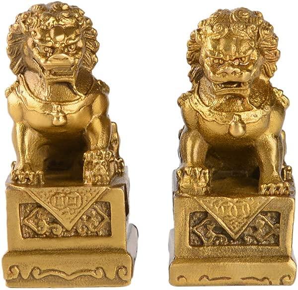 2 8in H Fengshui Brass Pair Of Fu Foo Dogs Guardian Lion Statues Housewarming Congratulatory To Ward Off Evil Energy ZD099