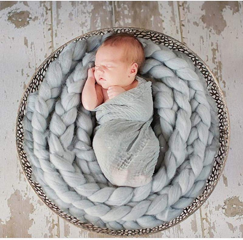 TEXXIS Baby Background Braid Rope Newborn Photo Props Baby Wool Blanket Receiving Blankets