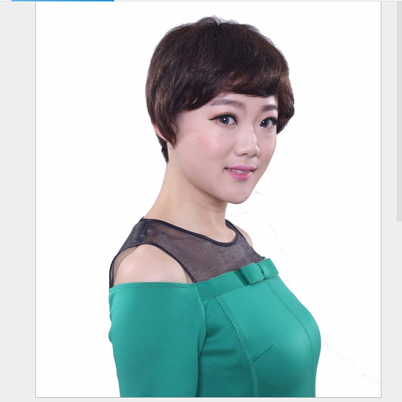 行進明らかのぞき見Koloeplf (ダークブラウン)26cmリアルディープブラウンウィッグ女性のための短いカールヘアリアルなナチュラルカールのウィッグ斜めのバンズとふわふわの毛小壊れた髪のかつら (Color : Dark brown)