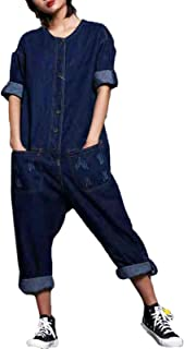 Flygo Women's One Piece Long Sleeve Denim Jean Jumpsuits Rompers Long Overalls