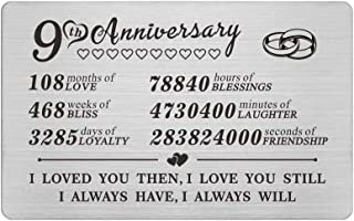 9 Year Anniversary Wallet Card Gifts for Him Her Men, 9th Yr Wedding Anniversary Presents for Husband Wife