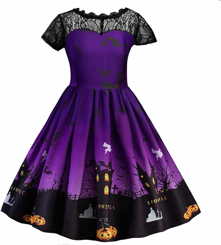 Kids Toddler Girls Halloween Party Dress Short Sleeve Lace Long Skirt Bat Print Cosplay Party Dress Skirt