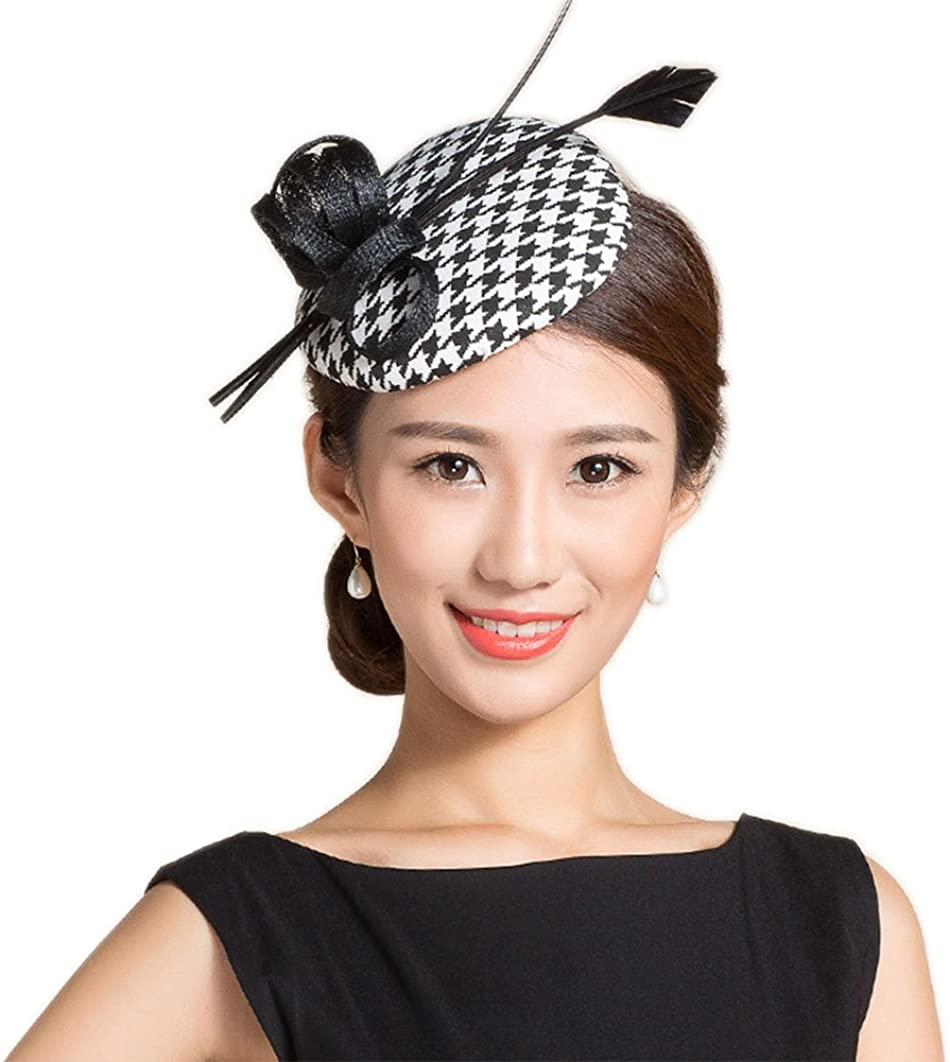 YSJOY Vintage Style Black White Houndstooth Grid Sinamay Feather Derby Hat