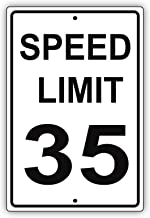 Speed Limit 35 MPH Miles per Hour Black Letters Zone Slow Down Speeding Restriction Alert Attention Caution Warning Notice Aluminum Metal 18