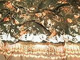 Doppelte Bordüre Print Polyester Chiffon Kleid Stoff braun