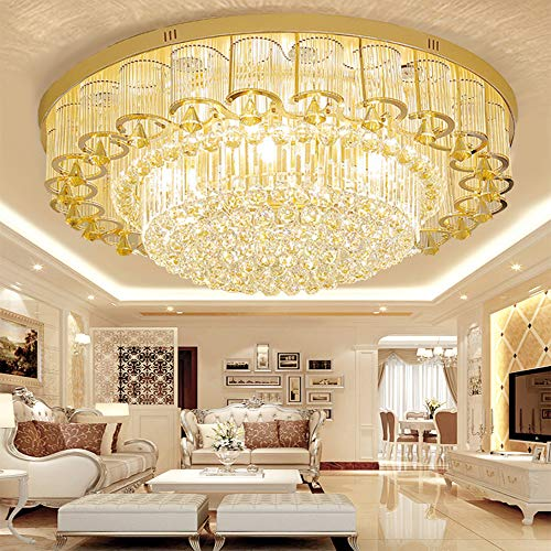 Kankanray K9 Crystal Flush Mount Ceiling Light Modern LED Chandelier Ceiling Lamp Round Pendant Light with Remote Control Decorative Lighting Lamp (23.6inch)