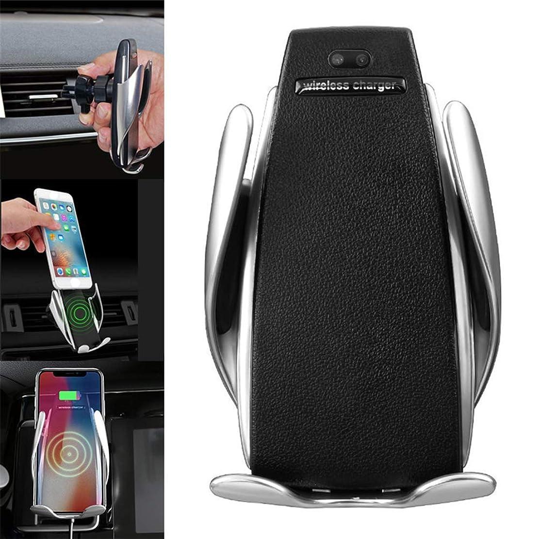 バッテリー桁確かな自動クランプワイヤレス車載充電器マウント - 車載充電器ホルダー iPhone XR XS Max X 8 8+用 10W 高速充電 Samsung All用 赤外線モーションセンサー 自動開閉 安全運転用クランプ