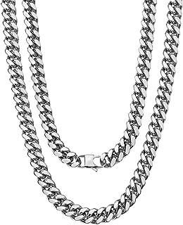 قلادة سلسلة 18 قيراط من توبيتريندي، مطلية بالذهب/مطلي بالفضة، أزياء للأولاد، 10 مم، 21.6 سم - 76.2 سم، تأتي مع صندوق