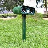 SMLJFO Repelente de animales ultrasónico, repelente de animales al aire libre, repelente de gatos, repelente de animales solar impermeable con sensor PIR de ratas de conejo para patio, campo, granja