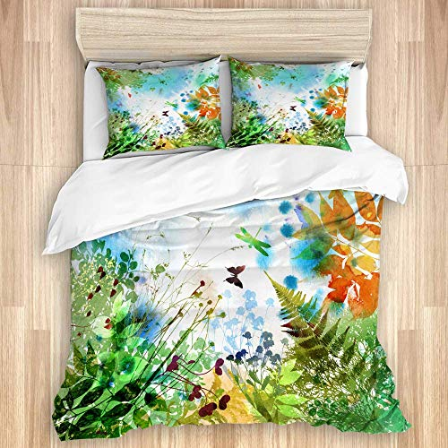 Juego de funda nórdica de 3 piezas, diseño floral de primavera y verano con diseño de mariposa, pintura de acuarela, juegos de fundas de edredón de microfibra de lujo para dormitorio, colcha con crema