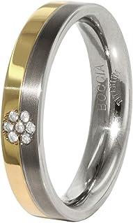 Boccia 钛中性款戒指部分镀金钻石 0.035 克拉)清晰明亮琢型 - 0129 06