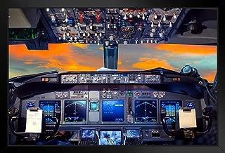 Flight Deck Airplane Cockpit at Sunset Photo Black Wood Framed Art Poster 20x14