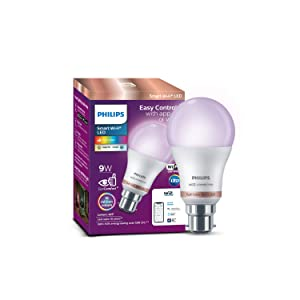 Philips Smart Wi-Fi LED bulb B22 9-Watt WiZ Connected (16 Million Colors + Warm White/Neutral White/White + Dimmable + Pre-set modes) (Compatible with Amazon Alexa and Google Assistant)