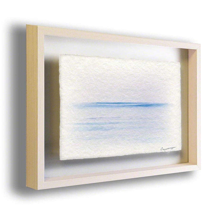 手すき 和紙 アートフレーム 額入り 紫 海 「夕暮れの一本の波」 32x26cm 絵 絵画 インテリア 壁掛け 壁飾り 風水 玄関 額縁付き