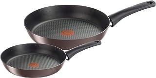 Tefal Chef Set 2 Sartenes 22/28cm antiadherente, apta para todas las cocinas incluida inducción, hasta175° C, Aluminio, Thermo-Spot, Steel, negro