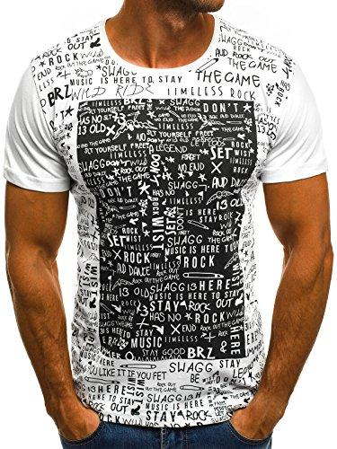OZONEE Herren T-Shirt T Shirt Tshirt Kurzarm Kurzarmshirt Tee Top Sport Sportswear Rundhals U-Neck Rundhalsausschnitt Aufdruck Motiv Print O/1173 WEIß L