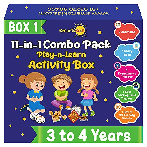 SmartoKids Activity Box for 3 Year Old Baby Boys & Girls (11-in-1 Set) – Learning & Educational Gift Pack of Play-Based Explorer Toys, Puzzles, Board Games, Colours and Books with Indian Values