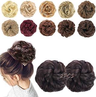 MORICA 2PCS Messy Bun Hair Scrunchies Messy Bun Hair Piece for Women Curly Wavy Scrunchy Updo Bun Extensions(Color:2/33#)