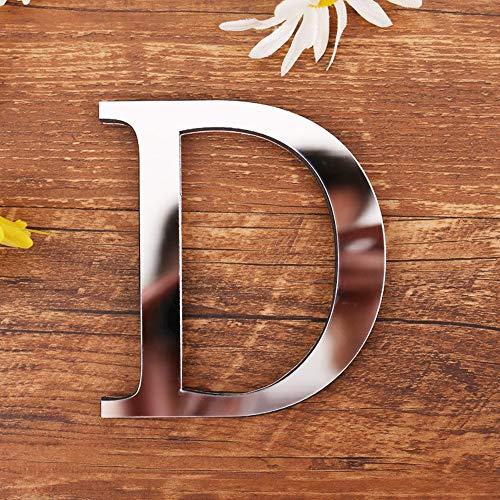Homehome Calcomanía de espejo del alfabeto 1 pieza autoadhesiva de superficie de espejo con letra inglesa de acrílico creativo adhesivo para pared DIY Art Mural (D)