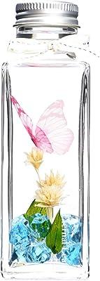 EternalLeaf ハーバリウム バタフライ ブルー コーンフラワー 角 瓶 ギフトボックス付 花 おしゃれ かわいい ギフト プレゼント