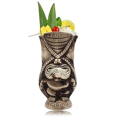 Tiki Mugs – Ceramic Tiki Mug 13.5oz / 400ml, Kane King Cocktail Mug for Mai Tai, Punch, Pina Colada, and Tropical bar Drinks - TIKI0038 (13.5oz / 400ml Butt)