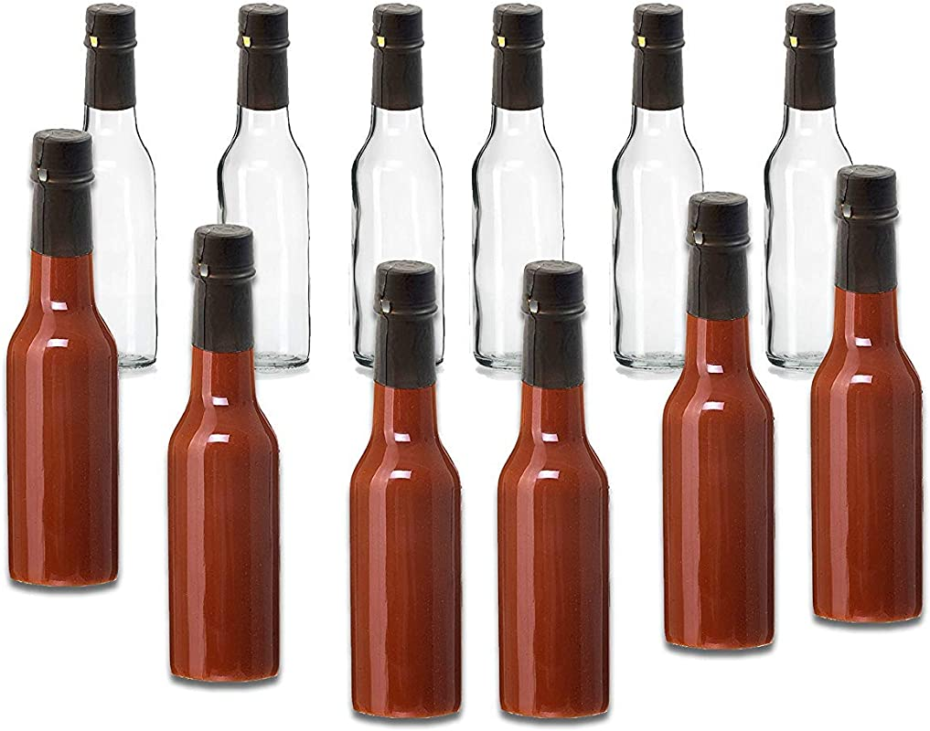 Premium Vials Hot Sauce Woozy Bottles 5 Oz With Black Caps And Inserts With Shrink Sleeve Bottles And Lids 12