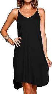 Womens Casual Summer Sleeveless T-Shirt Cami Tank Beach Dress Sundress