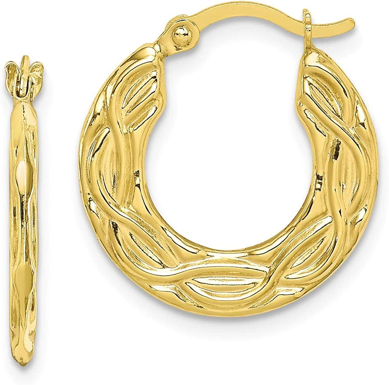 Beautiful Yellow gold 10K Yellowgold 10k Patterned Hollow Hoop Earrings