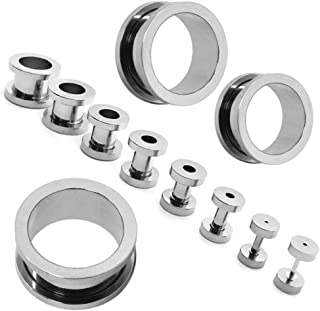 XXL Set Flesh Tunnel estensore plug e taper set dilatatore spirale Piercing 1,6-16mm