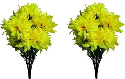 HYPERBOLES Artificial Flower Bunch Dahlia Flowers for Vase Natural Looking - 7 Flowers (Pack of 2) (Yellow)