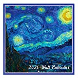 2021 Wall Calendar - 12 Month Monthly Wall Calendar, Jan. - Dec. 2021, 12' x 24' (Open), Unruled Blocks with Thick Paper - Art Paintings